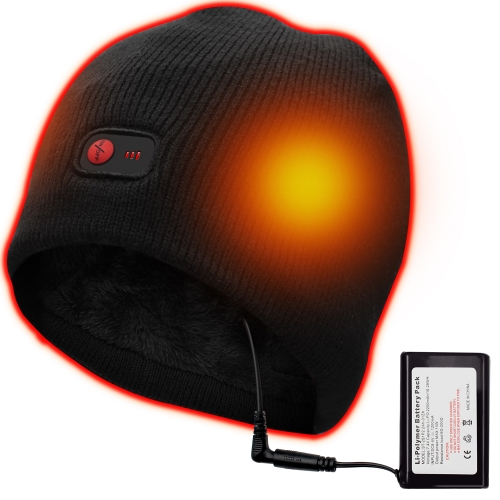 QILOVE Heated Hat Black Winter Thermal Hat with Rechargeable Battery for Hiking Climbing Skiing Keep Your Head Warm M