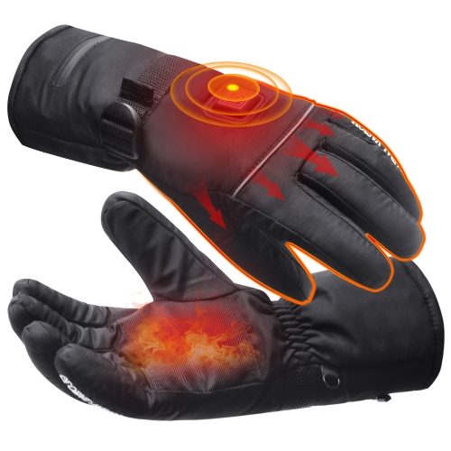 QILOVE 7.4V Heated Gloves Winter Warm Durable Unisex Soft Electric Heated Mittens for Arthritis Hands or Raynauds Rechargeable Battery Ski L/XL