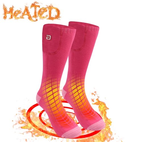 3.7V Outdoor Sports Winter Warm Socks Men Women Rechargeable Electric Battery Heated Socks Cold Weather Thermal Socks ONE SIZE Pink
