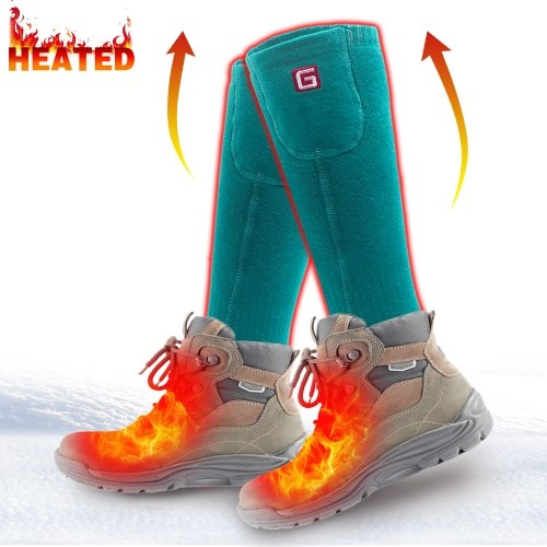 QILOVE 2.4v Electric Heated Socks Rechargeable Battery Operated Pink Women Sox Thermal Foot Warmers Hunting Climbing Skiing ONE SIZE White&Green