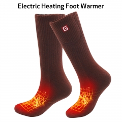 2.4V Electric Heated Socks Rechargeable Battery Operated Thermal Cozy Thick Knit Cotton Socks Kit for Women Men Foot Warmers ONE SIZE Brown